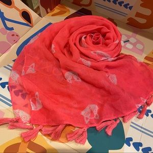Neon Pink Fox Face Head Scarf with Tassels
